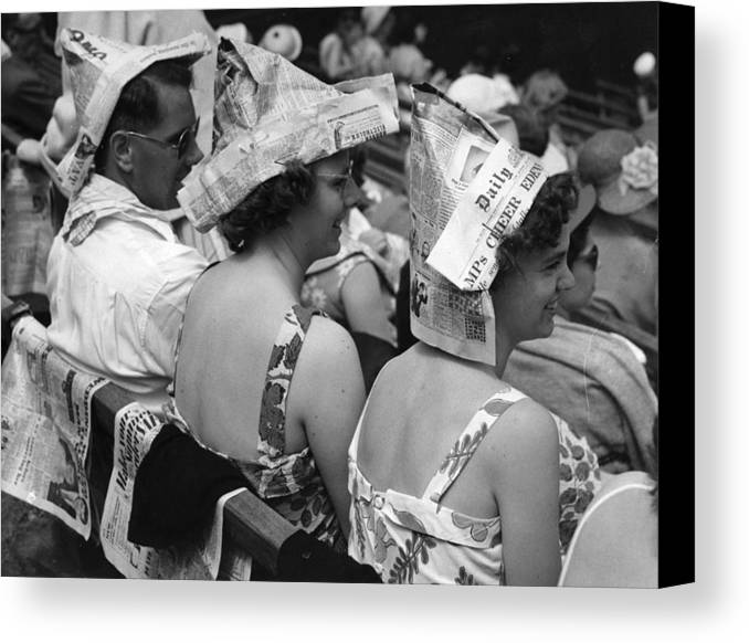 20-24 Years Canvas Print featuring the photograph Newspaper Hats by Fox Photos
