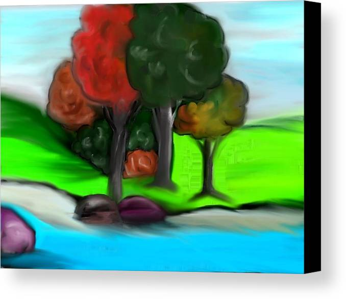 Trees Canvas Print featuring the digital art Trees On River by Paula Brown