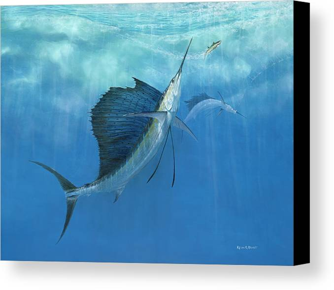 Kevin Brant Canvas Print featuring the painting Two Of A Kind Sailfish by Kevin Brant