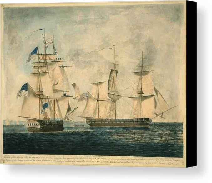 History Canvas Print featuring the photograph Uss Chesapeake Vs. Hms Shannon by Everett
