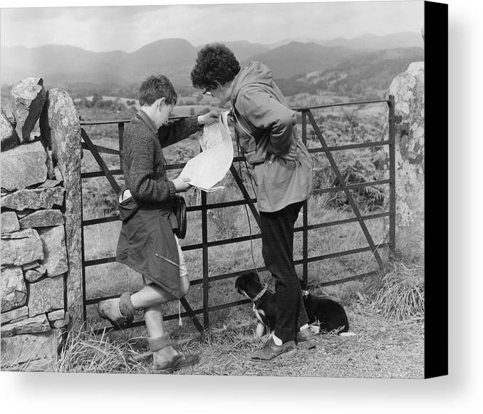 Pre-adolescent Child Canvas Print featuring the photograph Where Are We ? by Turner