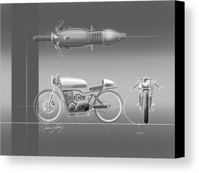 Hot Rod Canvas Print featuring the drawing Cafe Racer by Jeremy Lacy
