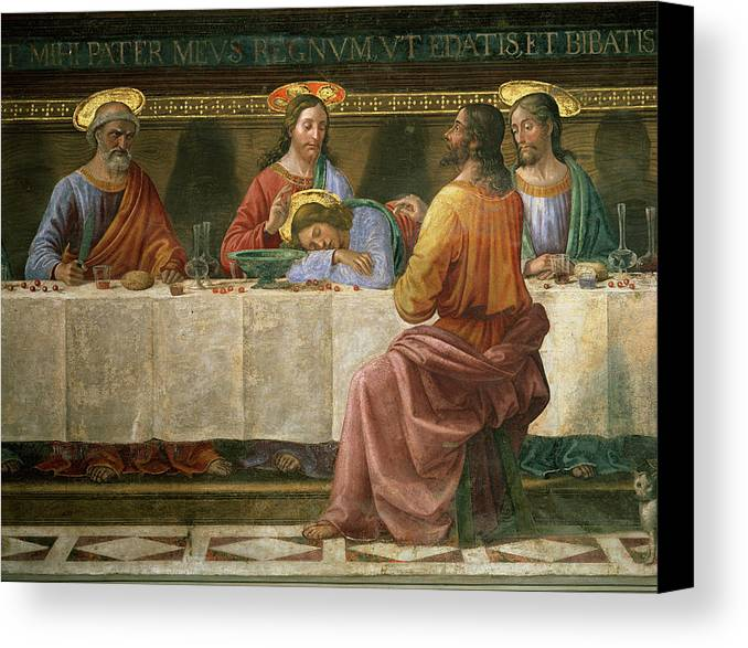 Detail Canvas Print featuring the painting Detail From The Last Supper by Domenico Ghirlandaio