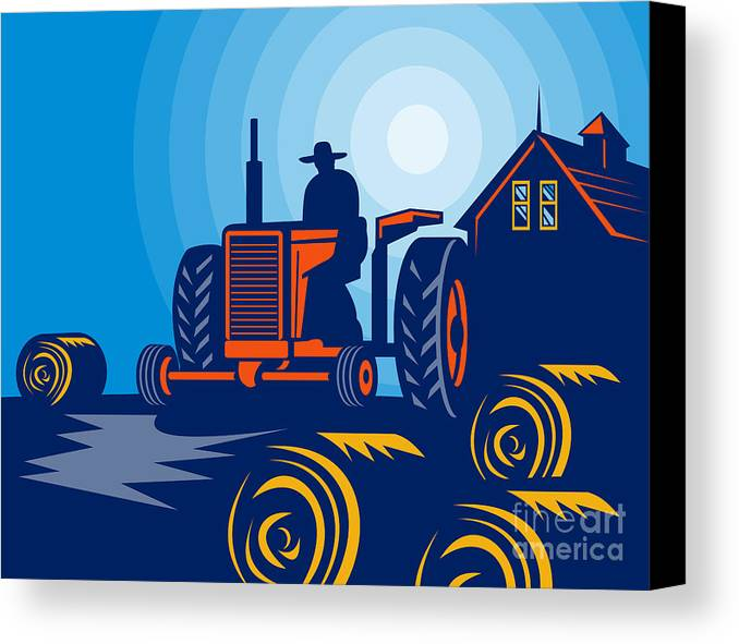 Tractor Canvas Print featuring the digital art Farmer Driving Vintage Tractor by Aloysius Patrimonio