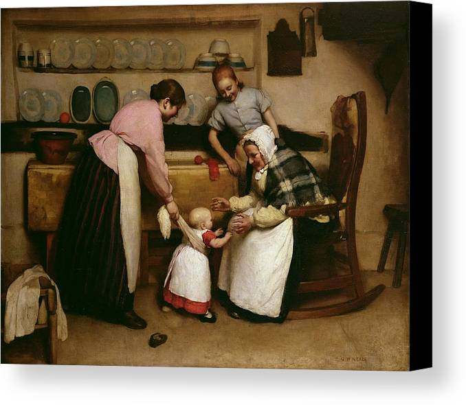 First Steps Canvas Print featuring the painting First Steps by George Hall Neale