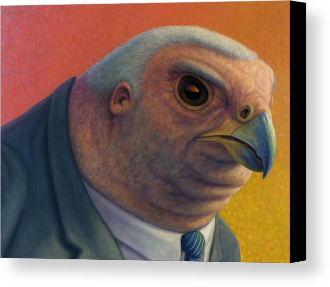 Hawk Canvas Print featuring the painting Hawkish by James W Johnson
