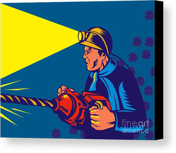 Illustration Canvas Print featuring the digital art Miner With Jack Drill by Aloysius Patrimonio