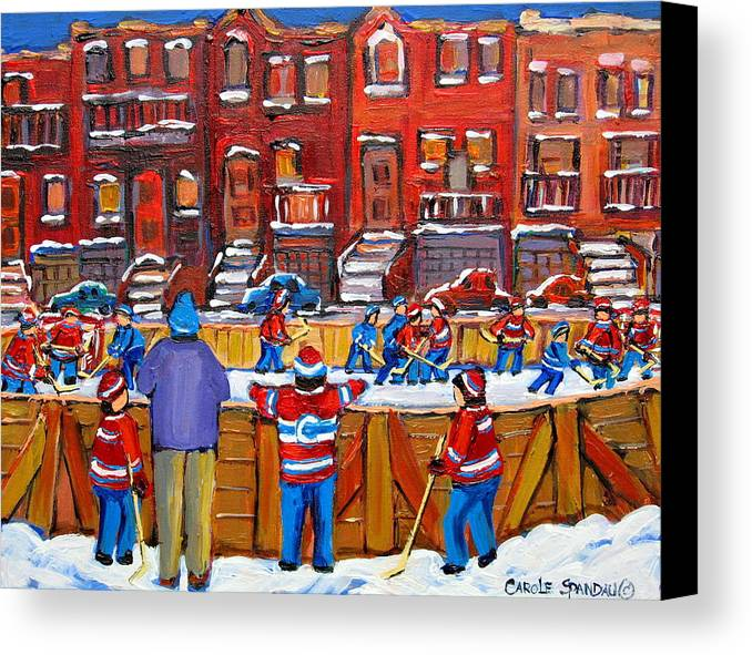 Hockeygame At The Neighborhood Rink Canvas Print featuring the painting Neighborhood Hockey Rink by Carole Spandau