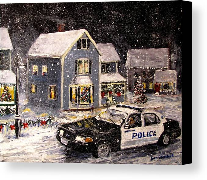 Snow Canvas Print featuring the painting Silent Knight by Jack Skinner
