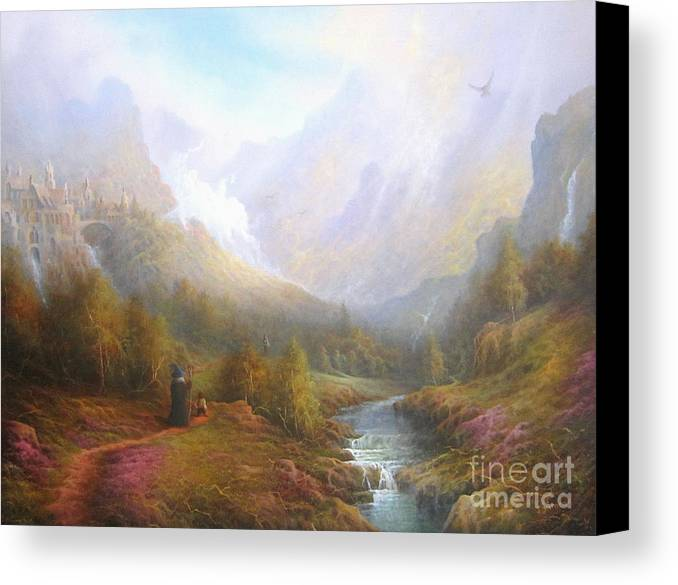 Tolkien Canvas Print featuring the painting The Misty Mountains by Joe Gilronan