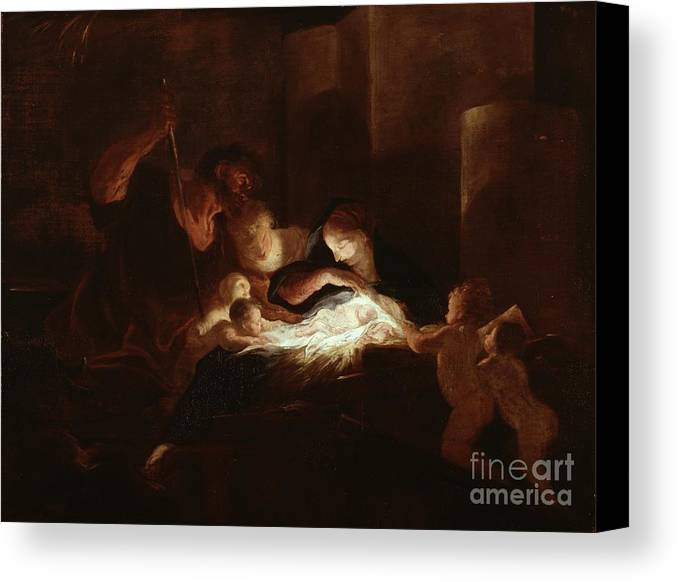 The Canvas Print featuring the painting The Nativity by Pierre Louis Cretey or Cretet