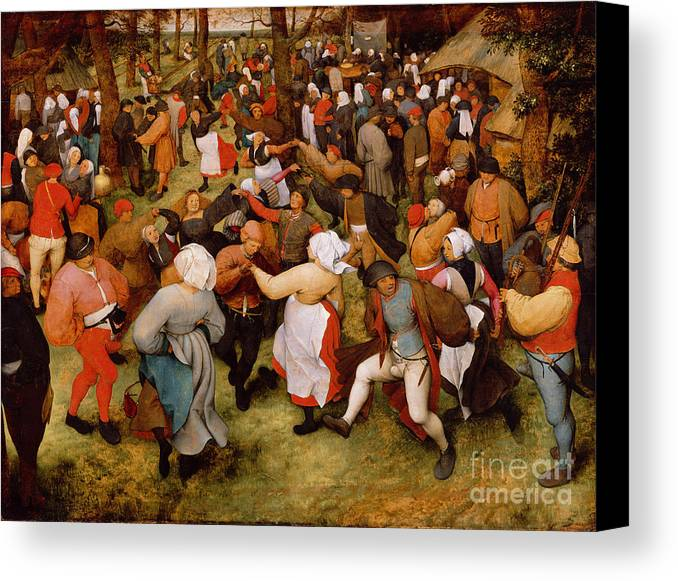 The Canvas Print featuring the painting The Wedding Dance by Pieter the Elder Bruegel