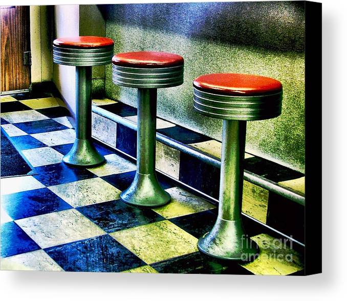 Retro Photography Canvas Print featuring the photograph Three White Steamer Stools by Julie Dant
