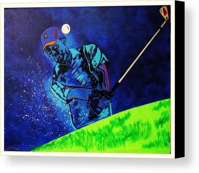 Tiger Woods Paintings Canvas Print featuring the painting Tiger Woods-playing In The Sandbox by Bill Manson