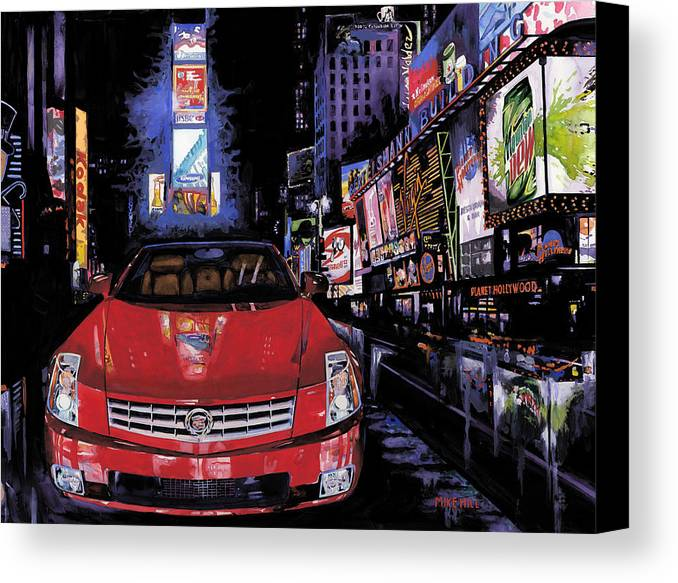 2008 Red Cadillac Caddy Cad Times Square New York City Lights Cityscape Night Mountain Dew Canvas Print featuring the painting Times Square ....cadillac by Mike Hill