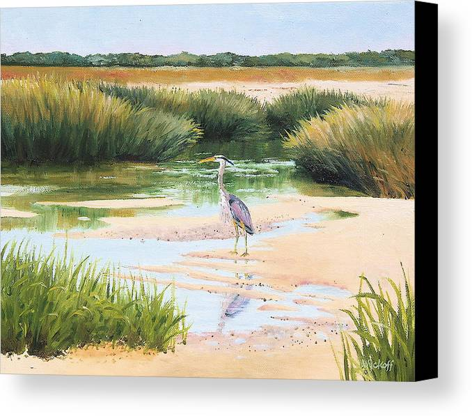 Marsh Canvas Print featuring the painting Blue Heron by Karol Wyckoff