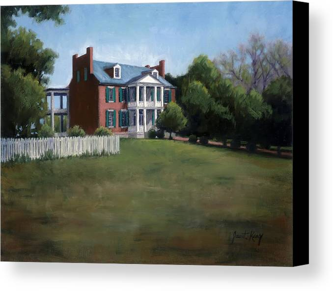 Carnton Plantation Canvas Print featuring the painting Carnton Plantation In Franklin Tennessee by Janet King