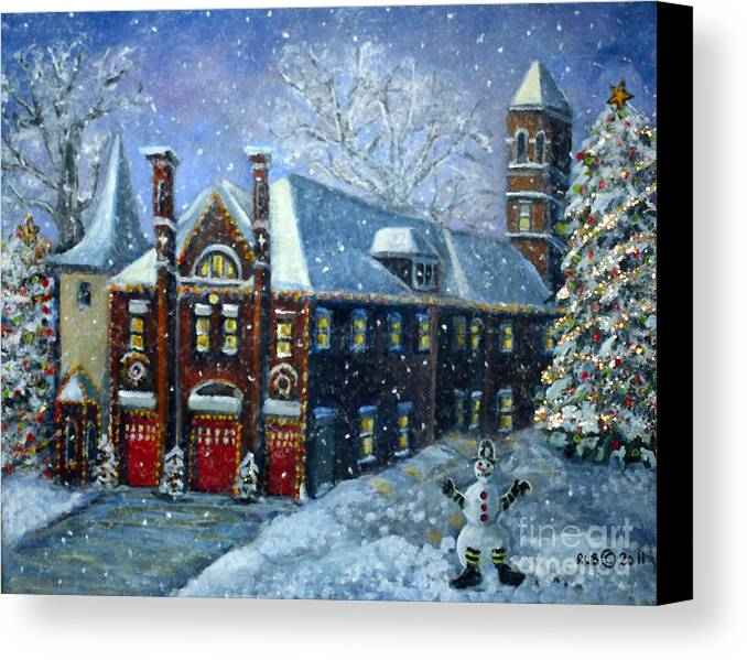 Waltham Canvas Print featuring the painting Christmas At The Fire House by Rita Brown