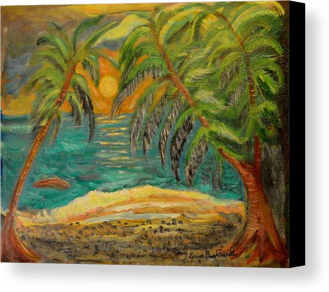 Tropical Canvas Print featuring the painting Deserted Tropical Sunset by Louise Burkhardt