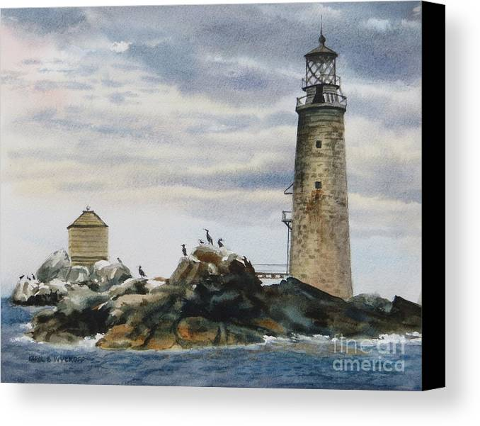 Clouds Canvas Print featuring the painting Graves Light House by Karol Wyckoff