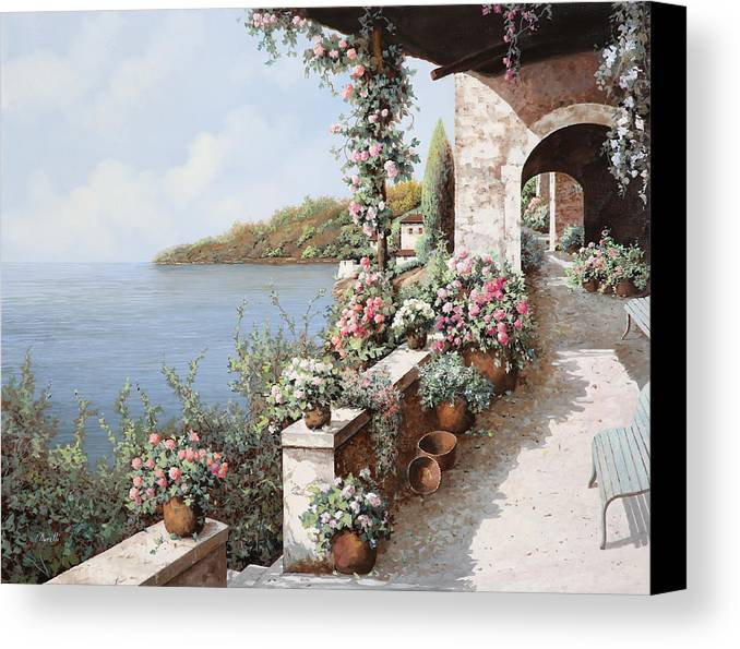 Coastal Canvas Print featuring the painting La Terrazza by Guido Borelli