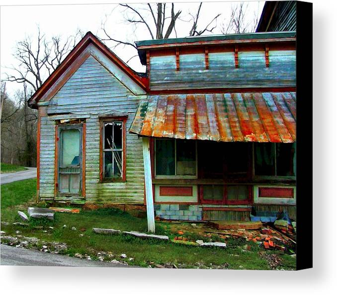 1937 Flood Canvas Print featuring the photograph Old Leavenworth Indiana by Julie Dant