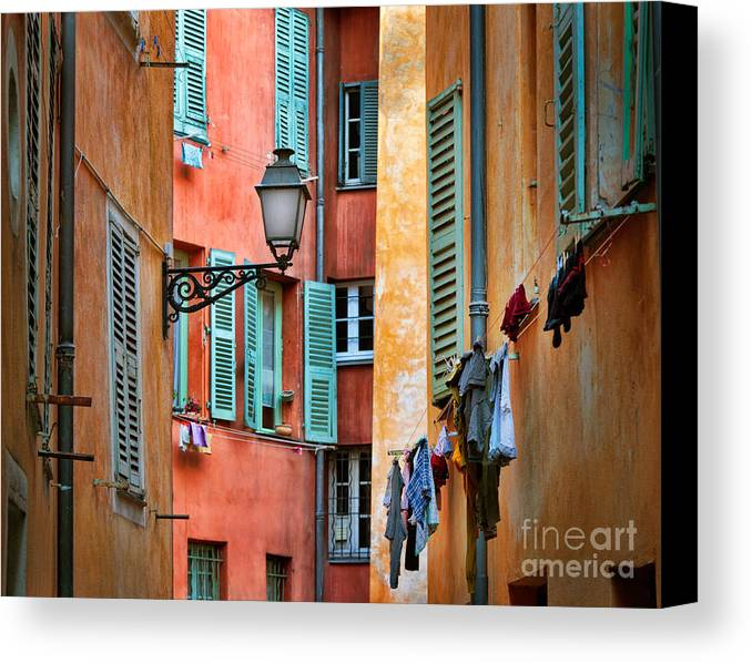 Cote D'azur Canvas Print featuring the photograph Riviera Alley by Inge Johnsson