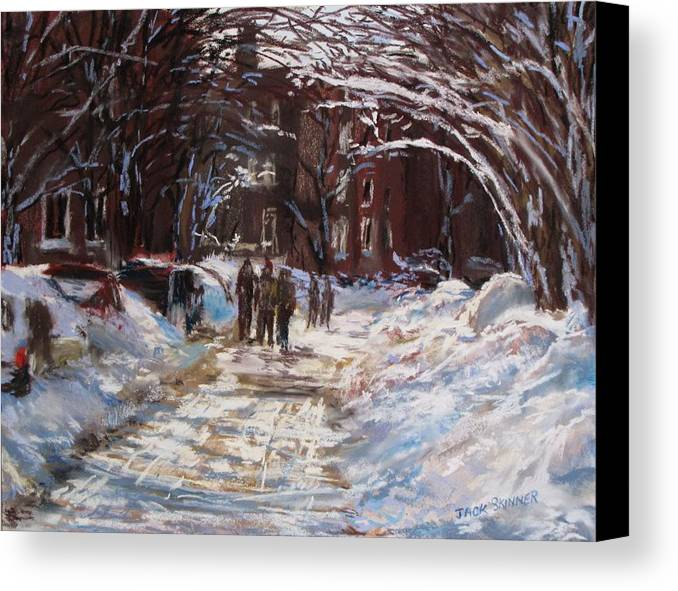 Snow Canvas Print featuring the painting Snow In The City by Jack Skinner
