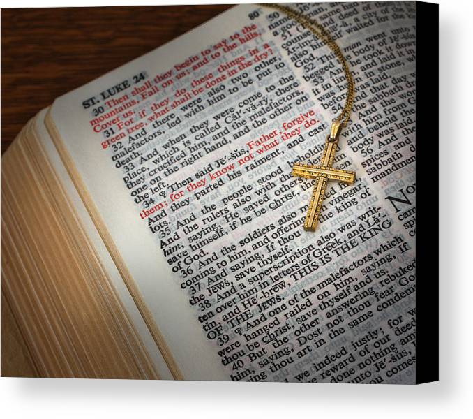 Bible Canvas Print featuring the photograph The Cross Of Jesus by David and Carol Kelly