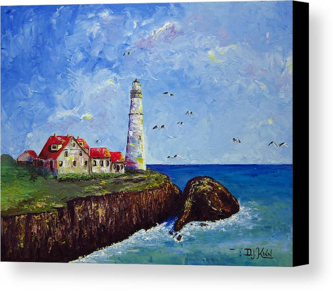 Lighthouse Canvas Print featuring the painting The Guardian by Dottie Kinn
