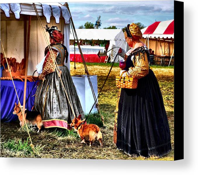 Corgies Canvas Print featuring the photograph The Ladies And The Corgies by Julie Dant