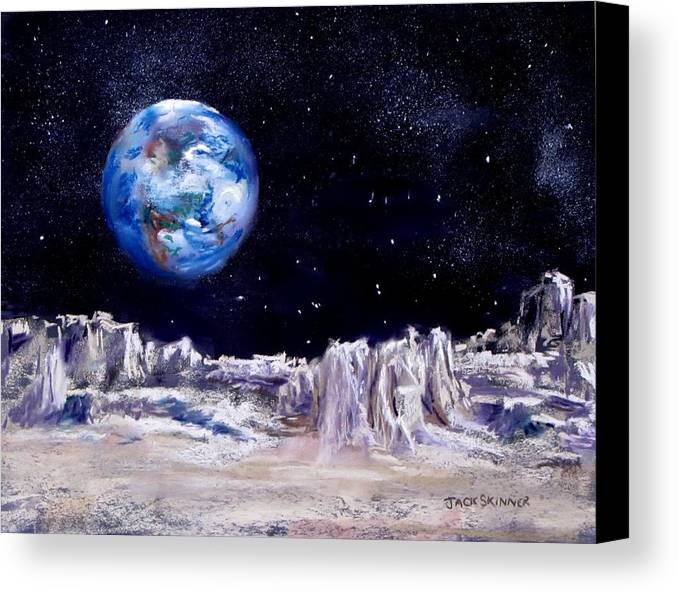 Moon Canvas Print featuring the painting The Moon Rocks by Jack Skinner
