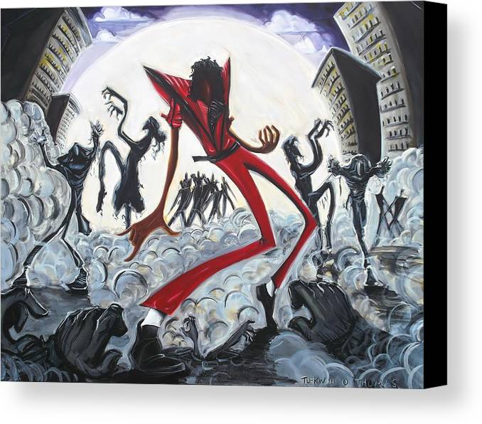 Thriller Canvas Print featuring the painting Thriller V2 by Tu-Kwon Thomas