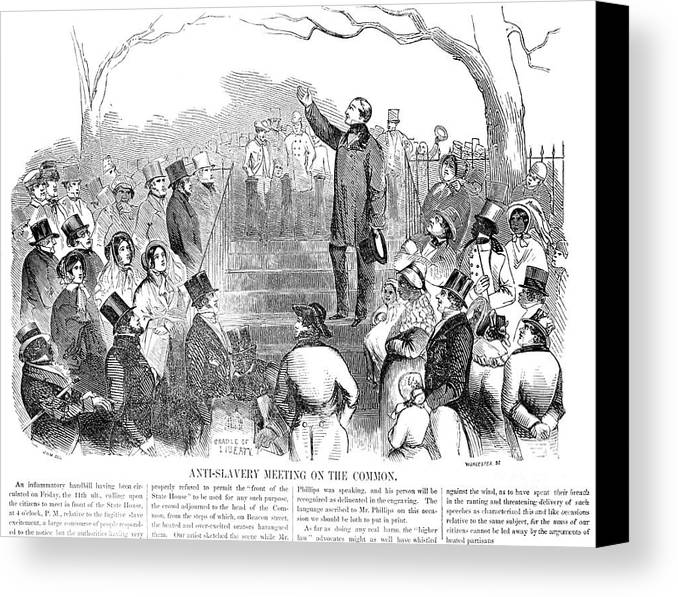 1851 Canvas Print featuring the photograph Abolition: Phillips, 1851 by Granger
