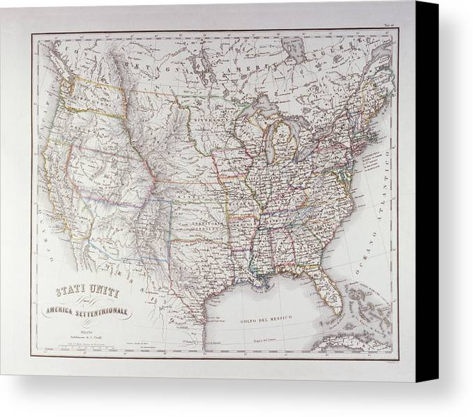 Horizontal Canvas Print featuring the digital art Map Of The Northen United States by Fototeca Storica Nazionale