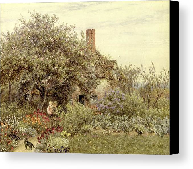 Cottage; Mother And Child; Rural Scene; Country; Countryside; Home; House; Path; Garden; Wildflowers; Irises; Picturesque; Idyllic; Daughter; Female Canvas Print featuring the painting Near Hambledon by Helen Allingham