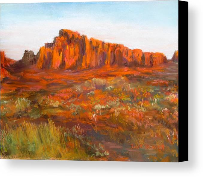 Red Cliffs Canvas Print featuring the painting Red Cliffs by Jack Skinner