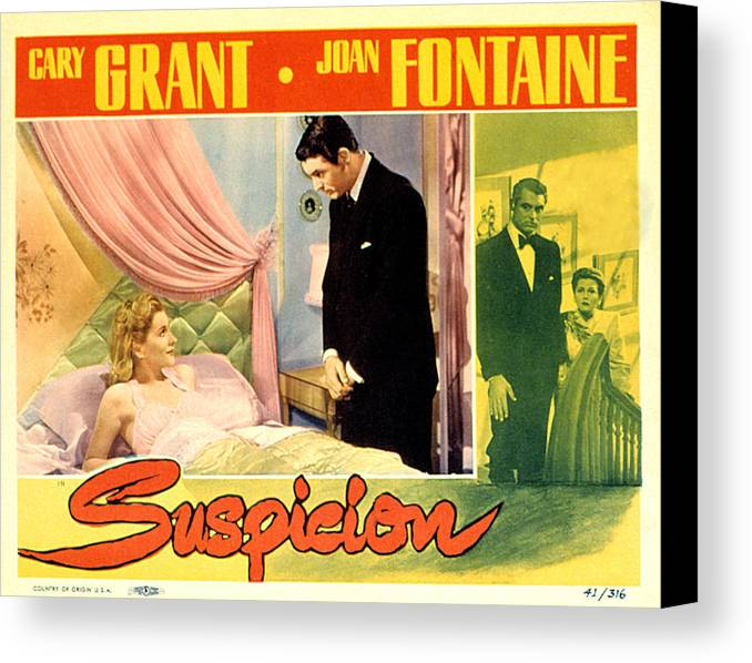 1940s Movies Canvas Print featuring the photograph Suspicion, Joan Fontaine, Cary Grant by Everett