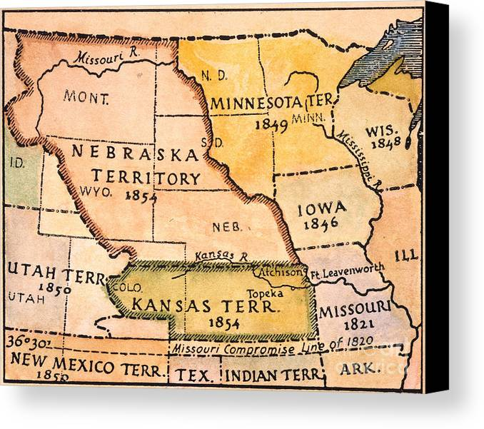 1854 Canvas Print featuring the painting Kansas-nebraska Map, 1854 by Granger