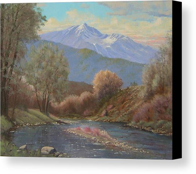 Landscape Canvas Print featuring the painting 060630-1814 The Land Awakes In Spring  by Kenneth Shanika