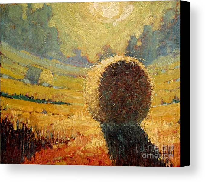 Hay Canvas Print featuring the painting A Hay Bale In The French Countryside by Robert Lewis