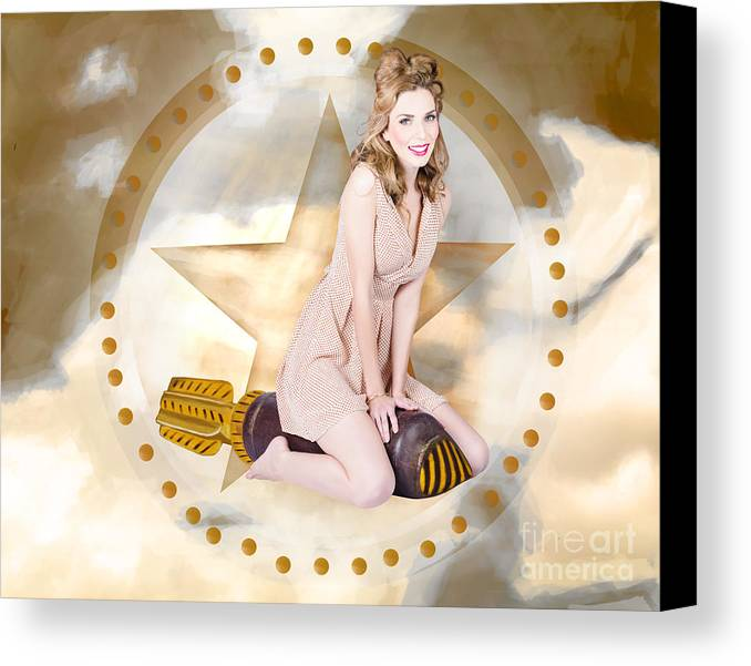 July Canvas Print featuring the photograph Antique Pin-up Girl On Missile. Bombshell Blond by Jorgo Photography - Wall Art Gallery