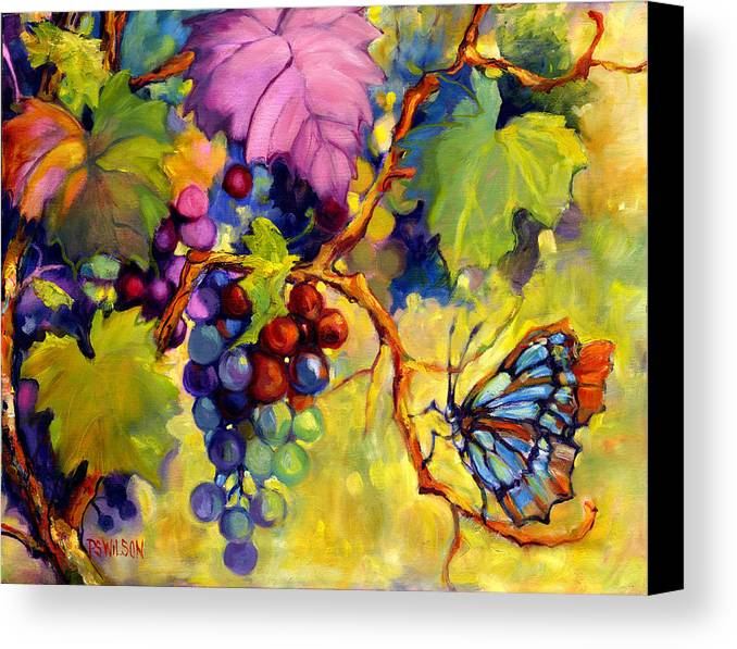 Butterfly Canvas Print featuring the painting Butterfly And Grapes by Peggy Wilson