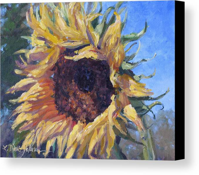 Sunflower Landscape Canvas Print featuring the painting Good Mornin by L Diane Johnson