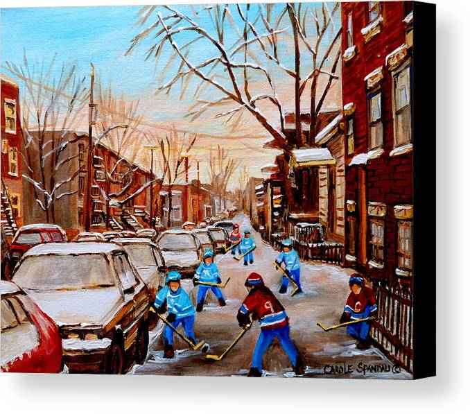 Montreal Canvas Print featuring the painting Hockey Gameon Jeanne Mance Street Montreal by Carole Spandau