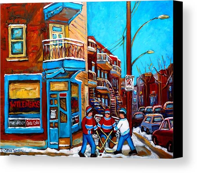 Montreal Canvas Print featuring the painting Montreal City Scene Hockey At Wilenskys by Carole Spandau