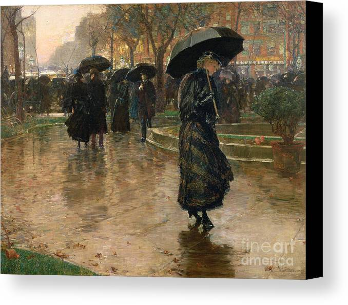 Rain Storm Canvas Print featuring the painting Rain Storm Union Square by Childe Hassam