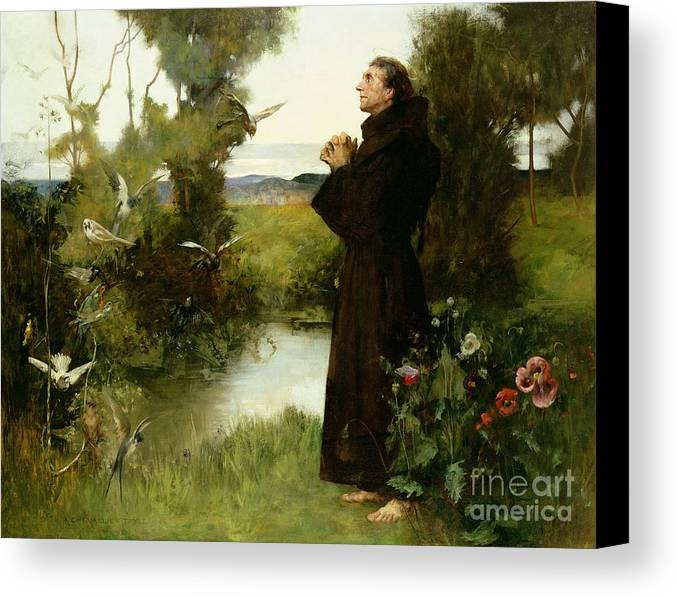 St. Francis Canvas Print featuring the painting St. Francis by Albert Chevallier Tayler