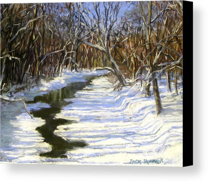 Assabet River Canvas Print featuring the painting The Assabet River In Winter by Jack Skinner