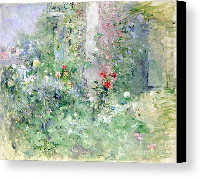 The Canvas Print featuring the painting The Garden At Bougival by Berthe Morisot